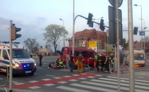 Wypadek na skrzyżowaniu Wrocławskiej i Uczniowskiej