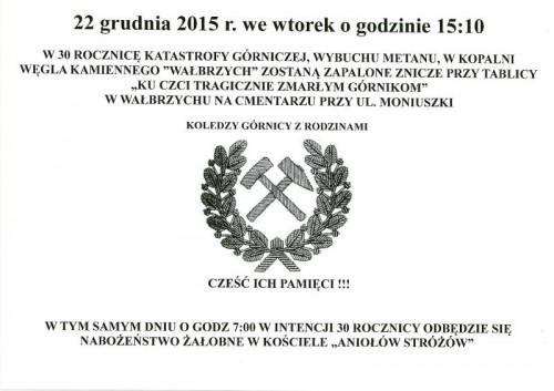 """30. rocznica katastrofy na Kopalni Węgla Kamiennego """"Wałbrzych"""""""