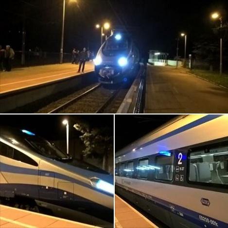 Postój Pendolino na stacji Wałbrzych Miasto podczas testowego przejazdu (7 kwietnia 2016 r.) [fot. FK]